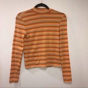 Orange Striped Cropped Mock Neck Shirt